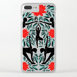Yoga Girls Illustration with Lotus Flowers and Leaves // Red and Green Clear iPhone Case