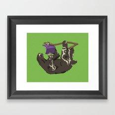 Reading Sloth Framed Art Print