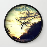 texas Wall Clocks featuring Texas by Camille Renee
