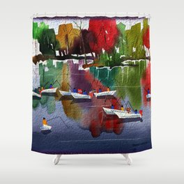 Watercolor Autumn Fishers 1 Shower Curtain
