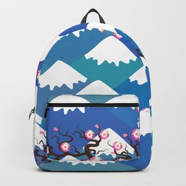 Spring Nature background with Japanese cherry blossoms, sakura pink flowers landscape. blue mountain Backpack