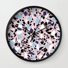 Terrazzo Spot Blues on Blush Wall Clock