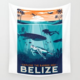 Belize Travel poster vintage tropical reef Wall Tapestry