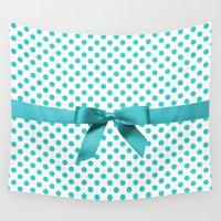 polkadot Wall Tapestries featuring Blue Tiffany Polkadot by albert Junior
