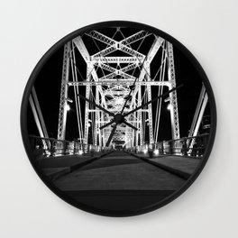 Shelby Street Bridge At Night Wall Clock