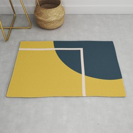 Fusion 3 Minimalist Geometric Abstract in Light Mustard Yellow, Navy Blue, and Blush Pink Rug