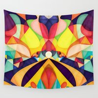 geometry Wall Tapestries featuring Poetry Geometry by Anai Greog