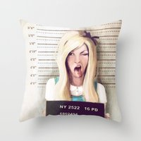 alice in wonderland Throw Pillows featuring Alice by adroverart