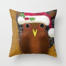 The Christmas Eve Owl Throw Pillow