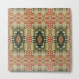Orange Red Olive Green Native American Indian Mosaic Pattern Metal Print