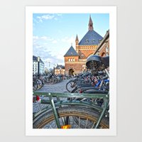 bicycles Art Prints featuring bicycles by  Agostino Lo Coco