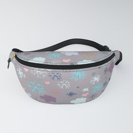 Rustic illustration flowers and clouds Fanny Pack