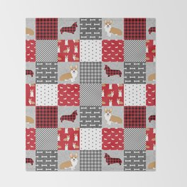 Corgi Patchwork Print - red, dog, buffalo plaid, plaid, mens corgi dog Throw Blanket