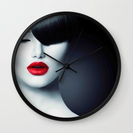 Fashion Glamour Beauty Girl With Trendy Fringe Wall Clock