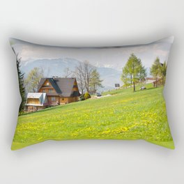 Bucolic spring meadow and house Rectangular Pillow