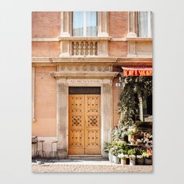 The wooden door | Travel photography Bologna Europe  Canvas Print