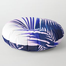 Indigo Palm Leaves on Pink Pastel Geometry #tropical #decor #lifestyle Floor Pillow