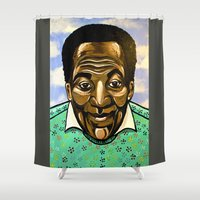 bill Shower Curtains featuring Bill Cosby by Portraits on the Periphery