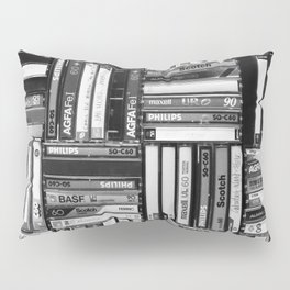 Music Cassette Stacks - Black and White - Something Nostalgic IV #decor #society6 #buyart Pillow Sham