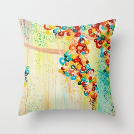 SUMMER IN BLOOM - Beautiful Abstract Acrylic Painting Vibrant Rainbow Floral Nature Theme  Throw Pillow