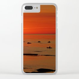 Kayaker and the Setting Sun Clear iPhone Case