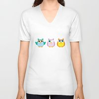 owls V-neck T-shirts featuring owls by Li-Bro