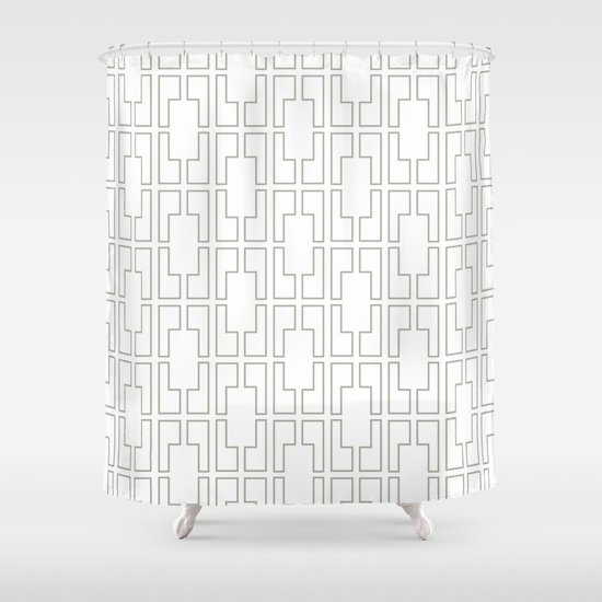 Attractive Simply Mid Century Retro Gray On White Shower Curtain