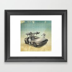Lost, searching for the DeathStarr _ 2 Stormtrooopers in a DeLorean  Framed Art Print