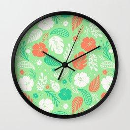 Green & Orange Tropical Foliage Pattern Wall Clock