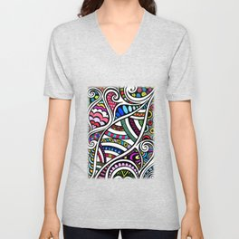 Colourful Curling Unisex V-Neck