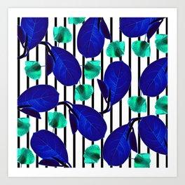 Blue Leaves + Aqua Poppies Art Print