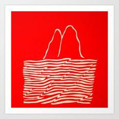 Red Waves Art Print
