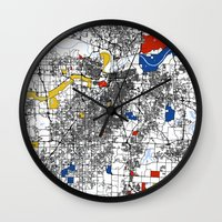 kansas city Wall Clocks featuring Kansas city mondrian map by Mondrian Maps