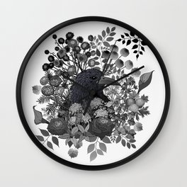 Raven in the Garden of Departed Botanicals Wall Clock