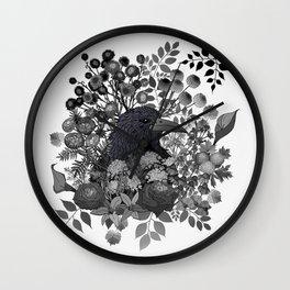 Raven in the Garden of Departed Botanicals Wall Clock