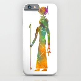 Egyptian god Hathor in watercolor iPhone Case