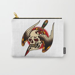 American Traditional Pierced Winged Skull Carry-All Pouch