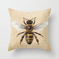 bee Throw Pillows featuring Bee by Paper Skull Studios