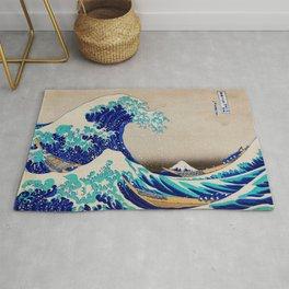 extreme waves-by-Katsushika Hokusai Rug