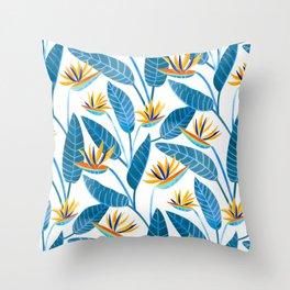 Strelitzia Flowers - Blue Throw Pillow