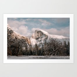 Yosemite Snow Capped Half Dome Art Print