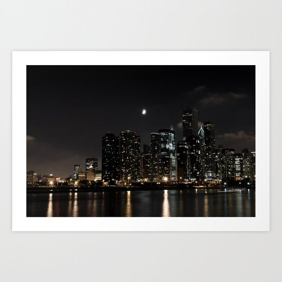 Moonlit Chicago Skyline Art Print
