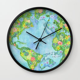 Floral Earth Wall Clock