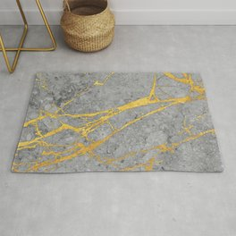 Grey Marble and Gold Rug