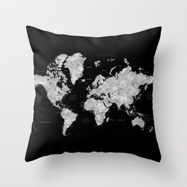 Black and grey watercolor world map with cities Throw Pillow