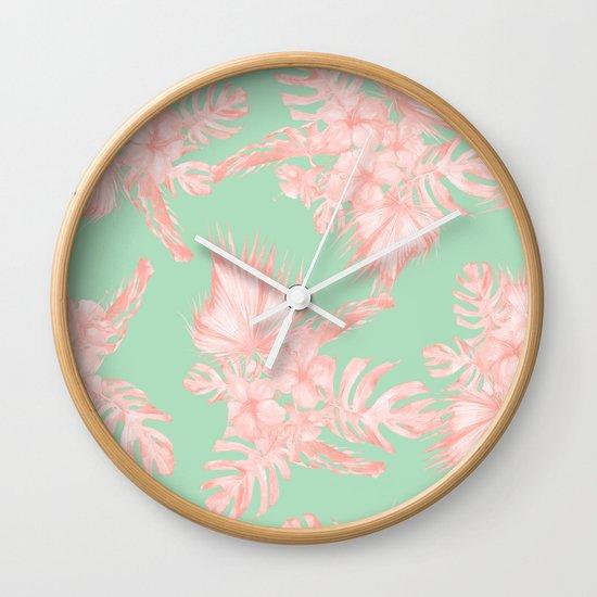 Dreaming of hawaii seashell pink light green wall clock for Seashell wall clock