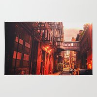 new york city Area & Throw Rugs featuring New York City Alley by Vivienne Gucwa