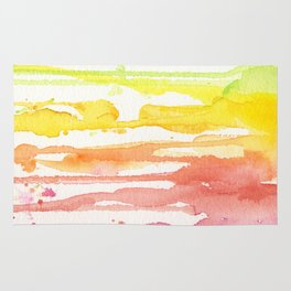Rainbow Watercolor Texture Pattern Abstract Rug