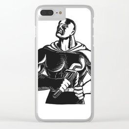 Superhero Plumber With Wrench Woodcut Clear iPhone Case