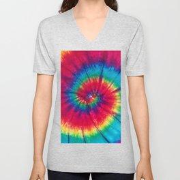 Colorful Tie Dye Spiral Unisex V-Neck